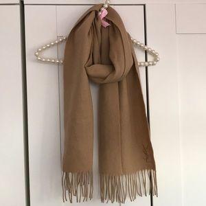 YSL Yves Saint Laurent Wool Cashmere Fringe Scarf